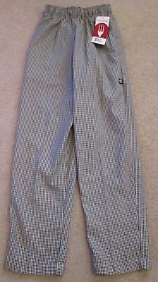 NWT Chef Works Black/White Check Uniform/Work/Chef Pants - Size XS