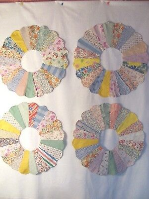 """Antique Lot of 4 DRESDEN PLATE QUILT BLOCKS 15"""" c1930-40's PILLOWS CRAFTS DOLL"""