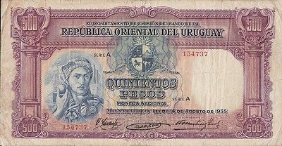 Uruguay 1935 Paper money 500 Pesos- Unique in your state - size 114 mm.X 218 mm.