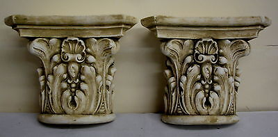 Pair Antique Finish Shelf Capitol plaster Wall Corbel Sconce Bracket Home Decor