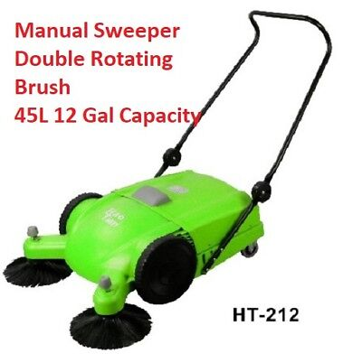 """Manual Sweeper Commercial 12gal 28"""" Double rotate Brushes No electrcity availabl"""