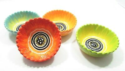 Rare Clay Art Set of 4 Small Hand Painted Ceramic Bright Unique Flower Bowls
