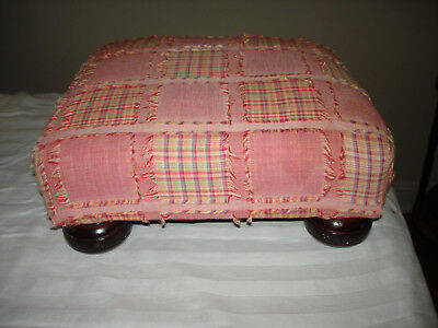 Vintage Wood Pink  Patch Work Square Foot Stool