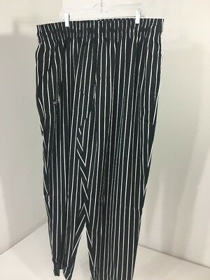 Chef Wear Men's Baggy Striped Cotton Chef Pants Black/white 2X Nwot