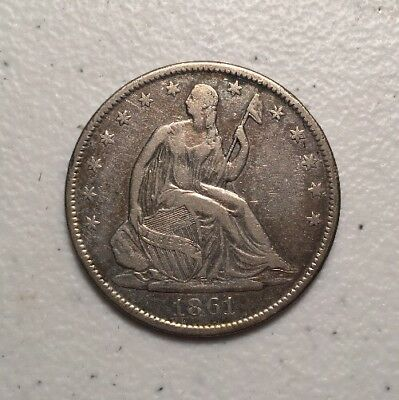 1861-O 50 Cent Seated Liberty Half Dollar Silver Coin - New Orleans Mint