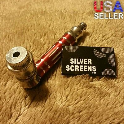 Small Red Luxury Metal Smoking Pipe Tobacco Herb Silver Portable Pocket Size