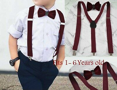 a550a3120940 Boy Baby Kids Burgundy Wine Red Velvet Bow Tie Match Suspenders 1-6 Years  Old
