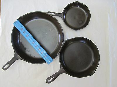 Lot of 3 VINTAGE CAST IRON PAN SKILLET Frying #3 #6 #10 Pouring Spouts USA