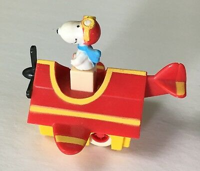 "Vintage 1966 Peanuts ""Red Baron Snoopy"" Push-n-Go 2"" Collectible Toy EVC"