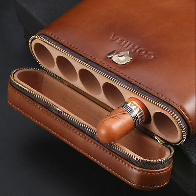 Cigar Case Humidor W/Humidifier COHIBA Brown Leather Cedar Lined Holds 6 Cigars