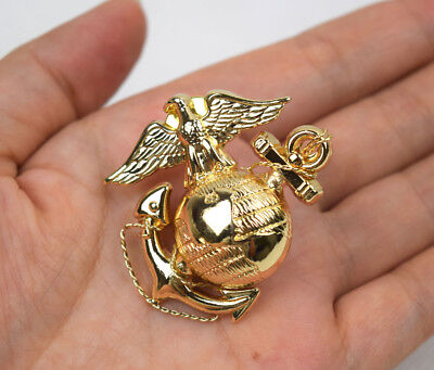 US Marine Corps USMC Emblem Cap Badge Metal Gold