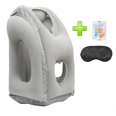 Inflatable Airplane Travel Pillow Neck Head Chin Cushion Heart-Shape Office Nap