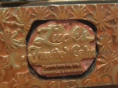 Vintage Printing Plate Metal on Wood block Lucks Fruited Cake Louisville KY