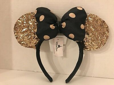 Disney Parks GOLD & BLACK Minnie Mouse Ears Headband READY TO SHIP Paris