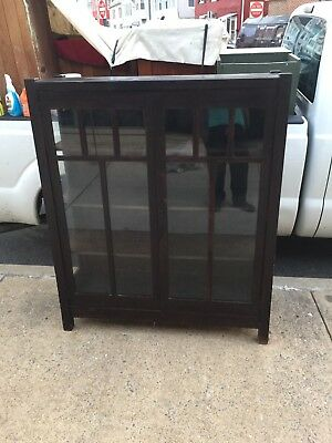 Antique Arts & Crafts Mission Oak Stickley Style China Cabinet Cupboard Bookcase