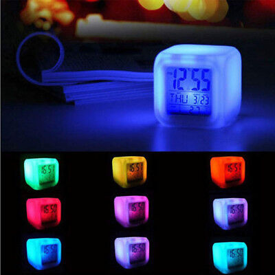 LED 7 Color Change PVC Digital Glowing Night Light Cube Alarm Clock Thermometer