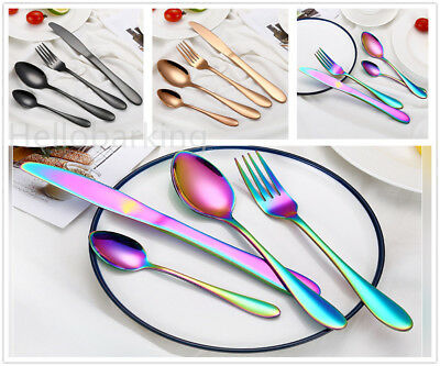 Stainless Steel Cutlery Sets Gold/Black/Rainbow Iridescent Forks 8/16/24/32X hhb