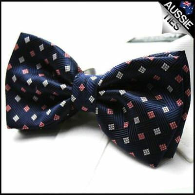 Navy Blue with Red + White Diamonds Bow Tie Men's Bowtie Mens