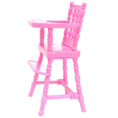 Pink Nursery Baby High Dining Chair Furniture for Barbie Doll Dollhouse Fashion