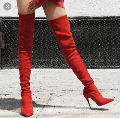 5484269156e STEVE MADDEN DOMINIQUE Red Suede Thigh High Boots -  70.10