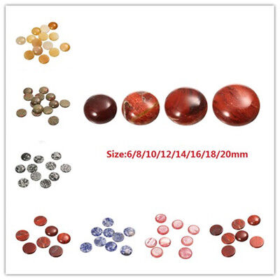 20pcs/lot Natural Stone 6/14/20mm Round Cabochon Beads Fit Jewelry Diy Findings