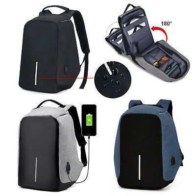Anti-Theft Laptop Backpack School Travel Business Sling Shoulder Bag w/ USB Port