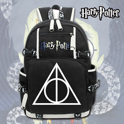 Harry Potter Deathly Hallows Logo Canvas Backpack Rucksack Schulranzen