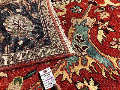 9x12 Hand Knotted Wool Rug Rust Blue New Persian Oriental Rugs