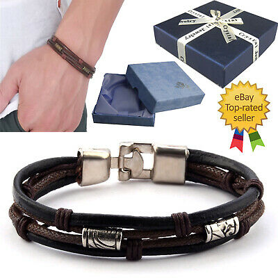 Surf Patrol Men Surfer Leather Bracelet Beads Wristband Braided Wrap Gift Brown