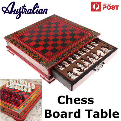 Vintage Wooden  International Chess Board Table Games Set Pieces Collectibles