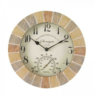 Stonegate Sandstone 10in Wall Clock and Thermometer By Smart Garden
