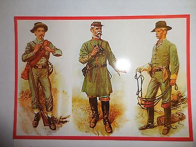 Confederate Solders,  Artillery, Cavalry, Infantry,  Military Civil War Postcard