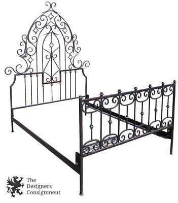 Arhaus Queen Size Wrought Iron Gothic Bed Frame Arched Back W Scrolls Antiqued
