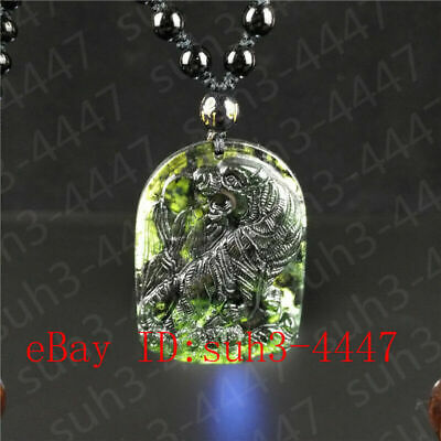 Certified Natural Black Green Jade Tiger Pendant Bead Necklace Charm Jewelry Hot