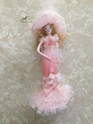 Pink Lady Victorian Dress Hand Blown Glass Christmas Ornament Xmas Doll