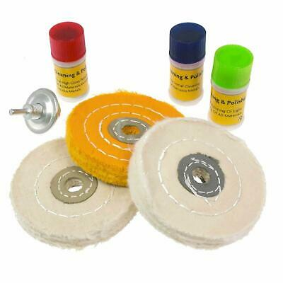 7Pc Hard Metal Cleaning & Polishing Mop Wheel Kit With Compounds Fits Any Drill