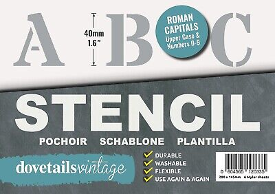 "ALPHABET STENCIL LETTERS & NUMBERS 40mm tall (1.57"" ) 6 x Sheets ROMAN CAPITALS"