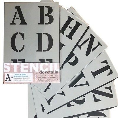"LETTERING STENCIL LARGE ALPHABET / NUMBERS 70mm tall (2.75"" ) ROMAN CAPITALS"