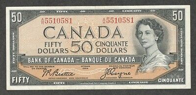 1954 $50.00 BC-42a VF+ Scarce COYNE Signed 1st QEII Bank of Canada Fifty Dollars
