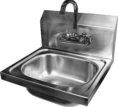 ACE Wall Mount Stainless Steel Hand Sink with No Lead Faucet and Strainer, by