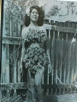 Vintage Antique Photograph Polynesian Woman in Hawaiin Traditional Outfit Framed