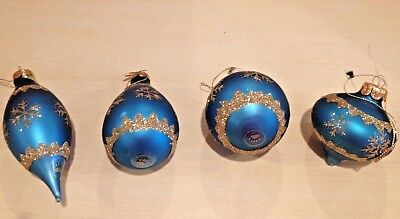 "Boyds Bears, ""MATTHEW'S BLUE SNOWFLAKE"" Set of 4 RARE Glass Ornaments #391100-06"