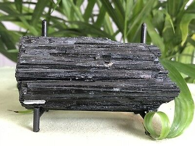 Rough Black Tourmaline Mineral Specimen W/Stand Raw Gemstone Crystal Chakra.