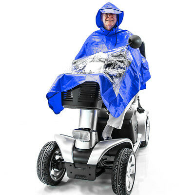 Scooter Rain Poncho Challenger Mobility J800, Lightweight, Waterproof Cape BLUE