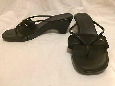 ce77eb689a05ae Tommy Hilfiger Womens Sandals Martina Black Strappy High Heel Slides Thongs 7  M