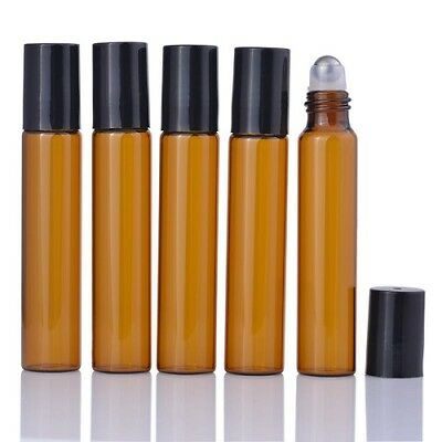 10ml Amber Roll on Glass Bottles Essential Oil Metal Roller Ball Empty BLACK Lid