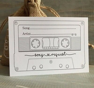 WEDDING SONG REQUEST CARDS CASSETTE TAPE RUSTIC 4 INVITATION