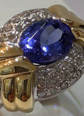 14K Two Tone Gold Tanzanite & Diamond Ring Triple A Natural Gemstone 1.25 Carats