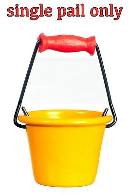 MINIATURE YELLOW METAL BUCKET or PAIL w/RED HANDLE for DOLLHOUSE or FAIRY GARDEN