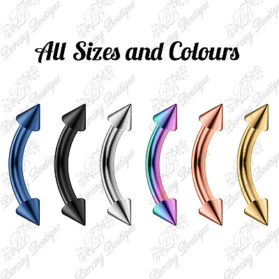 Curve Spike Cone Barbell Eyebrow Banana Cartilage Ear Curved Piercing Navel Bar